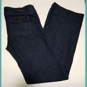 Fidelity Dark Wash Low Rise Wide Leg Jeans